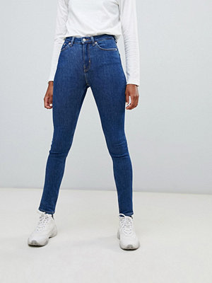 Weekday Thursday mellanblå skinny jeans med hög midja i ekologisk bomull