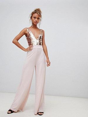 New Look Jumpsuit med paljetter Rosé guld
