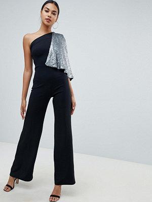 Club L Jumpsuit med bar axel och kappärm med paljetter Black/gunmetal