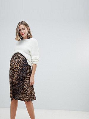 ASOS Maternity Leopardmönstrad skaterkjol i midilängd Leopardtryck