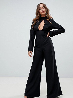 Missguided Svart jumpsuit nyckelhålsutskärning