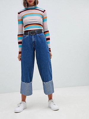 Pull&Bear Jeans med uppvikt nederkant Mörkblå