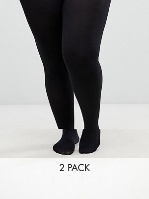 ASOS Curve 2-pack tights i 90 denier i extra stretchig passform