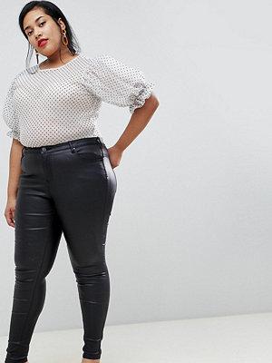 Zizzi Zizzy skinny jeans med beläggning Svart beläggning