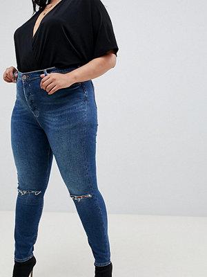 ASOS Curve Ridley stentvättade mörka skinny jeans med hög midja