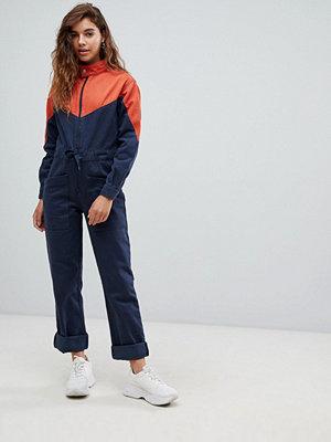 ASOS DESIGN Blockfärgad jeansoverall Flerfärgad