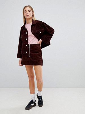 Weekday Minikjol i manchester med dragkedja framtill Mörkbrun