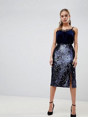 Fashion Union Paljettkjol i midimodell med slits Marinblå strass