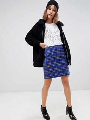 New Look Blå skotskrutig kjol Blå mönster