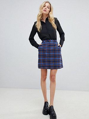 Oasis Blårutig a-linjeformad minikjol Mellanblå