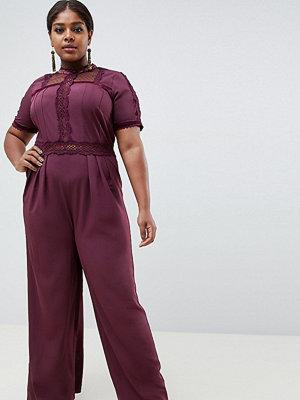 ASOS Curve Tea-jumpsuit med spetsinlägg Mörklila