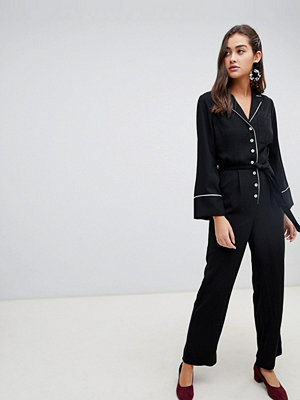 New Look Jumpsuit med skärp Svart mönster