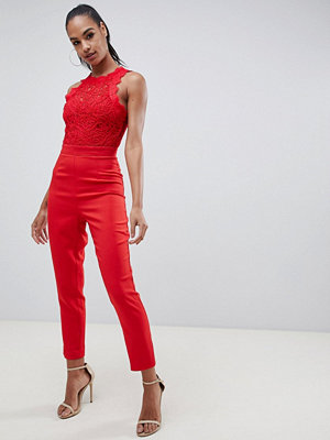 Missguided Cornellie Röd jumpsuit i spets