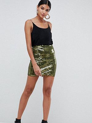 Asos Tall Minikjol med paljetter Kakifärgad