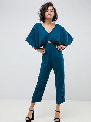 ASOS DESIGN Jumpsuit med kimonoärm och pegben Tealblå