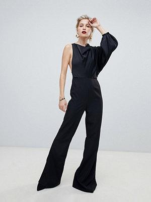 ASOS DESIGN One shoulder-jumpsuit med topp i satin och vid polokrage