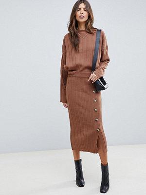 ASOS DESIGN Ribbad kjol med knappar