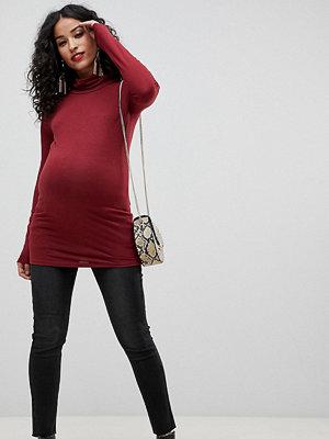 Bandia Mammakläder Ankellånga skinny jeans med råkant och avtagbart magband Tvättad svart