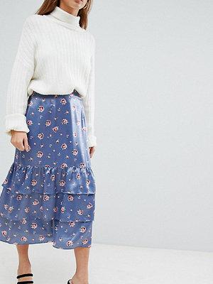 Fashion Union Petite Blommig midikjol Steel floral