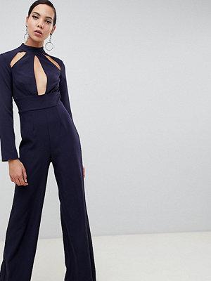 Missguided Tall Marinblå jumpsuit med kimonoärmar och nyckelhålsdetalj Mörkblå