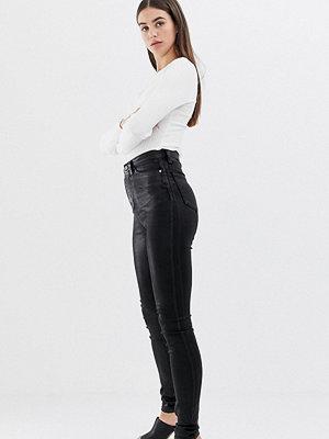 Asos Tall Sculpt me Svarta jeans med hög midja och ytbeläggning Svart beläggning