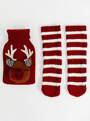 ASOS DESIGN Jul Set med varmvattenflaska och strumpor med renar