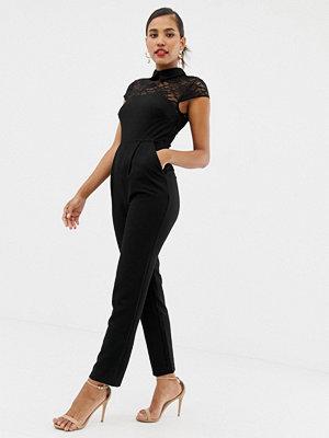 ASOS DESIGN Jumpsuit med spetsöverdel och krage