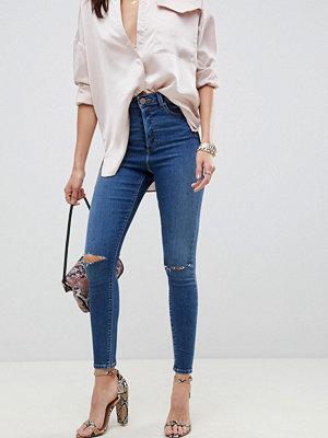 ASOS DESIGN Ridley Extreme mörktvättade skinny jeans med hög midja