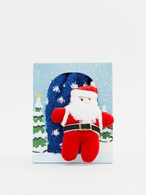 ASOS DESIGN Mysiga strumpor med jultomtedetalj Blå