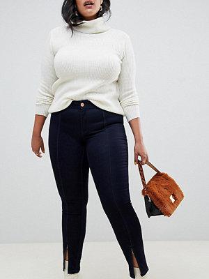 Jeans - Junarose Skinny jeans med slits i vristen Mörkblå