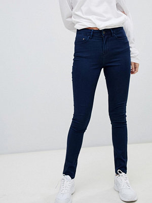 Wåven Åsa Smala jeans med medelhög midja Marinblå