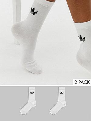 Adidas Originals Vita strumpor med treklöverlogga i 2-pack