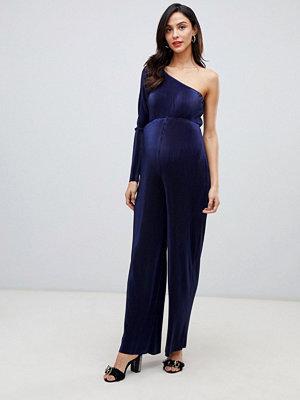 ASOS Maternity Plisserad jumpsuit med bar axel
