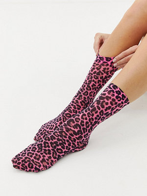 ASOS DESIGN Neonfärgade leopardmönstrade strumpor