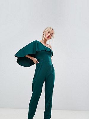 City Goddess Petite Jumpsuit med en ärm och vida ben Smaragdgrön