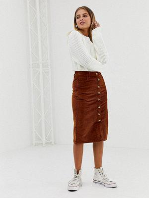 New Look Rostbrun pennkjol med knappar Rostfärgat