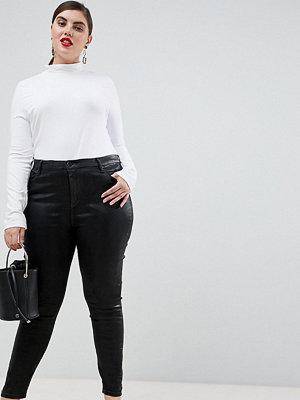 ASOS Curve 'Sculpt me' Svarta jeans av hög kvalitet Svart beläggning