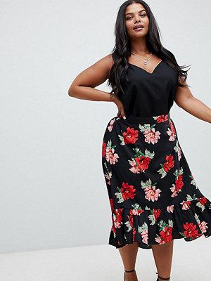 AX Paris Plus Mörk blommönstrad kjol i plusstorlek med variabel fåll Mörk blommig