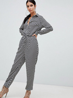 Missguided Jumpsuit med geometriskt mönster och knytning i midjan