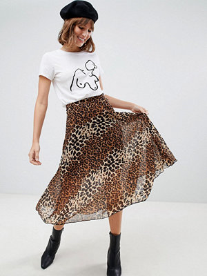 Glamorous Leopardmönstrad plisserad midikjol Leopard