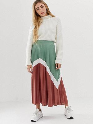ASOS DESIGN Färgblock plisserad midikjol Green/white/burgundy