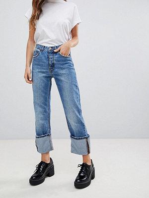 Pimkie Uppvikta jeans med raka ben Blå denim