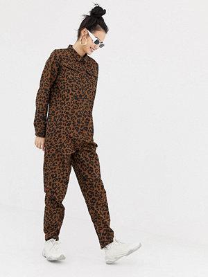 Daisy Street Leopardmönstrad overall med knappar Leopard