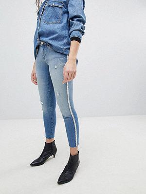 Only Skinny jeans med pärlutsmyckning Ljusblå demin