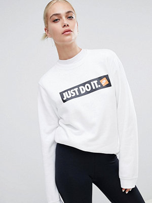 Nike Vit sweatshirt med rund halsringning och Just Do It-logga