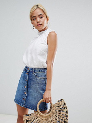 New Look Petite Blå kjol i denim med knappar Blå