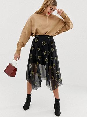 Soaked in Luxury Blommig kjol med asymmetrisk fåll Black with yellow