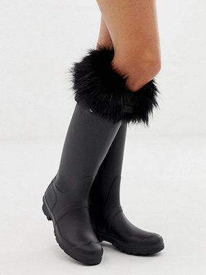 Hunter Svarta höga boot-strumpor med häl i fuskpäls