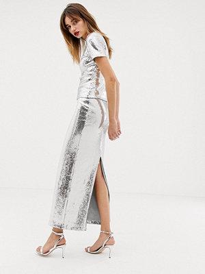 Warehouse X Ashish Silverfärgad maxikjol med paljetter