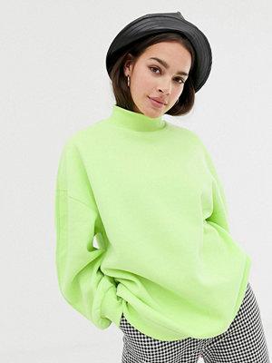 Tröjor - Bershka Limegrön tröja i oversize med hög krage Lime